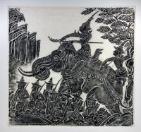 Warrior Leader Astride Elephant with Foot Soldiers in a Landscape