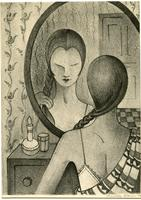 (woman plaiting hair in front of mirror)