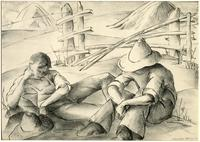 (two men resting with hats)