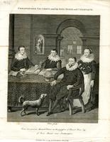 Engraving after portrait of Christopher Columbus and Sons Diego and Ferdinand