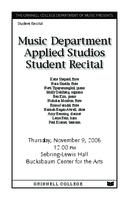 Music Department Applied Studios Student Recital