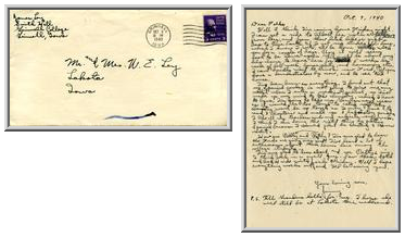 Jimmy Ley to Mr. and Mrs. W. E. Ley - October 9, 1940