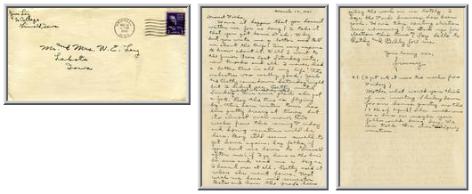 Jimmy Ley to Mr. and Mrs. W. E. Ley - March 12, 1941
