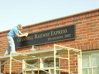 Grinnell Railway Express Sign Installation