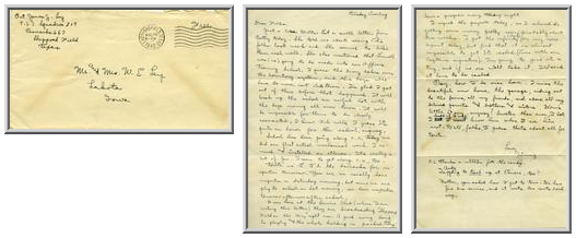 Jimmy Ley to Mr. and Mrs. W. E. Ley - August 26, 1942