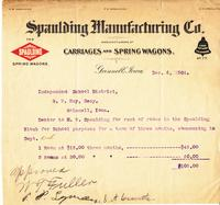 Bill from Spaulding Manufacturing Company to the Grinnell School District