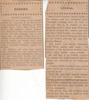 Newspaper Clippings on the Wedding of Charles Austin Palmer and Nora Belle Brown