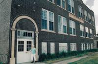 Dorothy Palmer in Front of the Newburg School