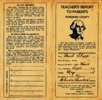Teacher's Report to Parents, Poweshiek County, 1937-38