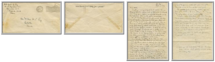 Jimmy Ley to Mr. and Mrs. W. E. Ley - September 6, 1942