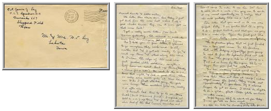 Jimmy Ley to Mr. and Mrs. W. E. Ley - September 14, 1942