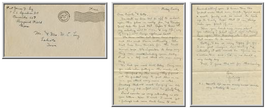 Jimmy Ley to Mr. and Mrs. W. E. Ley - September 19, 1942