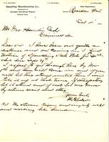 Letter from M.A. Sulser to George Hamlin