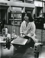 Ann Shimokusu in science classroom, May 5, 1978