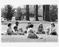 Students and Professor Sitting Outside on Campus, 1978