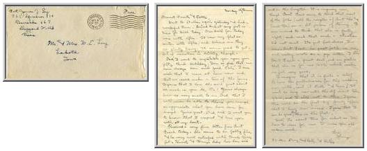 Jimmy Ley to Mr. and Mrs. W. E. Ley - October 5, 1942