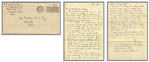 Jimmy Ley to Mr. and Mrs. W. E. Ley - October 13, 1942