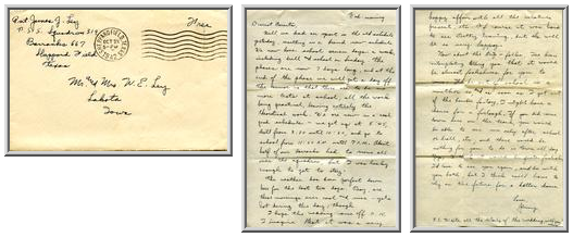 Jimmy Ley to Mr. and Mrs. W. E. Ley - October 21, 1942