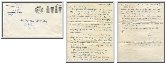 Jimmy Ley to Mr. and Mrs. W. E. Ley - October 29, 1942