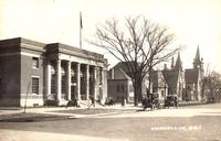Looking southeast from Broad Street at post office, Stewart Public Library and the Congregational Church, Grinnell, Iowa