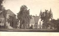 Library and Cong[regational] Church, Grinnell, Iowa