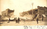 Firemen fighting August 25, 1907, fire, Cedar Falls, Iowa