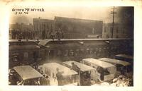 Ambulances, train wreck, March 21, 1910, Green Mountain, Iowa