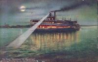 "Ferry ""Davenport"" by moonlight between Rock Island, IL and Davenport, Iowa"