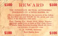 $100 Reward for Stolen Car, Rock Rapids, Iowa