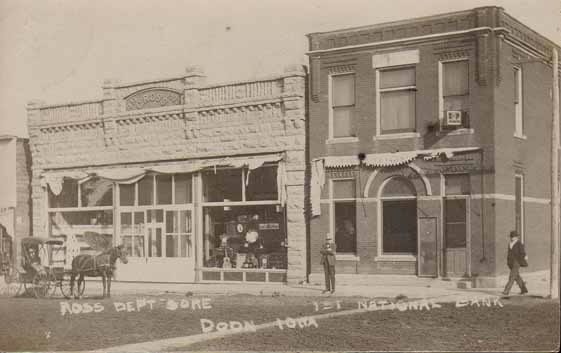 Ross Department Store and First National Bank, Doon, Iowa