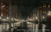 Walnut Street, looking west from Fourth Street, by Night, Des Moines, Iowa