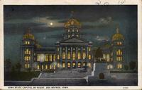 Iowa State Capitol by night, Des Moines, Iowa