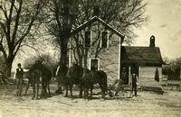 Homestead with horses and plow, De Witt, Iowa