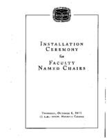 Installation Ceremony for Faculty Named Chairs