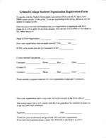 Grinnell College Student Organization Registration Form