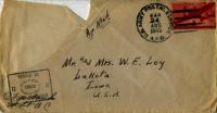 Jimmy Ley to Mr. and Mrs. W. E. Ley - August 24, 1943