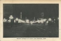 Walnut Street at night, Des Moines, Iowa