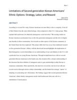 Limitations of Second-generation Korean Americans' Ethnic Options: Strategy, Labor, and Reward