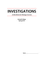 Investigations: a Handbook for Biology Courses