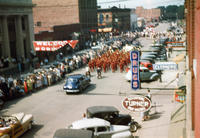 Aerial View of Band in 1948 Grinnell Day Parade