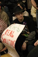 Student at the Iowa Caucus, January 19, 2003
