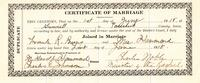 Marriage Certificate of Frank R. Burns and Mae Hammond
