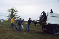 Group of Five People Unloading Mulch
