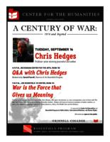 Chris Hedges; War is the Force that Gives us Meaning