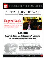 Concert: Ravel's Le Tombeau de Couperin: A Memorial to Friends Killed in the Great War