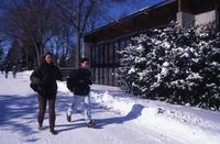Students Walking on Campus in the Winter