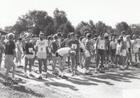 Runners at starting line for Grinnell's 125th Anniversary Race