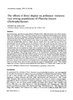 The effects of floral display on pollinator visitation vary among populations of Phacelia linearis (Hydrophyllaceae)