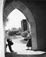 Students in Cowles Hall Archway