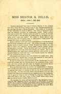 Miss Hester A. Hillis: India; 1886-7, The End